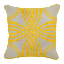 Villa Home - Pair of Zoey Yellow Pillows by Villa Home - An earthy flax colored linen contrasts gorgeously with the sunshine yellow embroidered design. Take a close look, each line is a different stitch, making this a textured gem. (VH)
