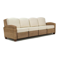 Home Styles - Home Styles Cabana Banana 4 Section Sofa in Honey - Home Styles - Sofas - 540163 - Cabana Banana 4 section sofa features frames and fabric that are made of 100% sustainable natural materials. Frame is hand woven of natural banana leaves with no harmful additives in a soft honey color finish.. The furniture legs are made of natural renewable wood. Cushion covers are cotton twill in Ecru color.