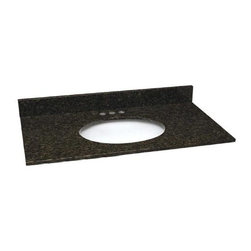 Design House - Traditional Vanity Top (Small) - Choose Size: SmallIncludes 4 in. backsplash. Durable. Undermount white oval ceramic bowl. Square edge top. Pre-drilled 4 in. center mount. Polished three sides with eased edge profile. cUPC certified. Made from granite. Uba tuba color. Small: 25 in. W x 22 in. D x 4 in. H. Medium: 31 in. W x 22 in. D x 4 in. H. Large: 37 in. W x 22 in. D x 4 in. H. Extra large: 49 in. W x 22 in. D x 4 in. H. Warranty. Installation and care Instructionsperfect vanity top for any bathroom decor.