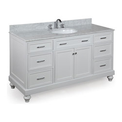 Kitchen Bath Collection - Amelia 60-in Single Sink Bath Vanity (Carrara/White) - This bathroom vanity set by Kitchen Bath Collection includes a white cabinet, soft close drawers, self-closing door hinges, Italian Carrara marble countertop with stunning beveled edges, single undermount ceramic sink, pop-up drain, and P-trap. Order now and we will include the pictured three-hole faucet and a matching backsplash as a free gift! All vanities come fully assembled by the manufacturer, with countertop & sink pre-installed.