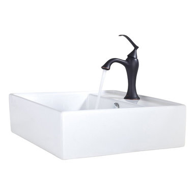 Kraus - Kraus C-KCV-150-15001ORB White Square Ceramic Sink and Ventus Basin Faucet - Add a touch of elegance to your bathroom with a ceramic sink combo from Kraus