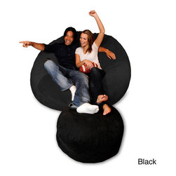 None - 6-foot Memory Foam Bean Bag Chair - This ultra comfortable beanbag chair features a soft micro-suede cover with a high-quality memory foam and furniture foam blend. Available in a variety of colors,outfit your basement or game room with this large,two-person sack chair.