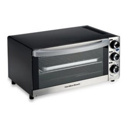 "Hamilton Beach - Hamilton Beach 6-Slice Toaster Oven - The Hamilton Beach 6-Slice Toaster Oven has a six slice capacity and fits a 12"" pizza. With an attractive brushed stainless steel exterior, this large capacity toaster oven wipes clean and features auto shut off and a slide-out crumb tray."