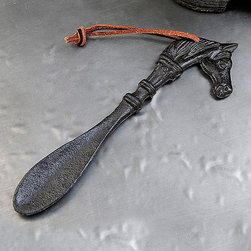 Giftcraft - Cast Iron Horse Shoehorn - Featuring an equestrian theme and sturdy iron construction, this shoehorn will add stylish décor to your home while providing useful assistance when getting dressed.   9.1'' W x 52.6'' H x 0.6'' D Iron / leather Imported