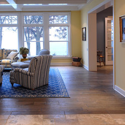 """Private Residences - Tuscany™ Collection 6-3/4"""" (17 cm) wide, Vintage French Oak hardwood floor, smooth face, hand beveled, hand distressed, dyed and stained in custom Stone Gray color, tiple Oiled & Waxed."""