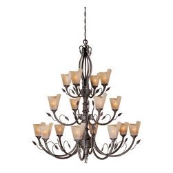 Vaxcel - 16L Chandelier w/ Excavation Glass - Vaxcel Lighting CP-CHU016BW 16 Light Capri Chandelier This product by Vaxcel Lighting is offered in a black walnut finish. It is available with excavation