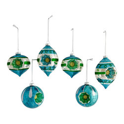 MOD ORNAMENTS – BLUE - NEW - Rewind time and enjoy the nostalgic spirit this season with these lively ornaments. Reminiscent of a design used decades ago—updated with more vibrant colors—each piece is made of mouth-blown glass with a colorful reflector-like center. Add a vintage feel, a touch of color, and an abundance of holiday spirit to your home this season.