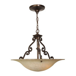 Craftmade - Scroll Series 16 in. Pendant in Aged Bronze - Bulb Type: A-Type. Max Watt: 3x100W. Glass Finish: Antique Scavo. Height: 13.5 in.. Width: 16.0 in.. Size: 16 in. Diameter. Type of Fixture: Pendant. This fixture comes with 3' of chain and 6' of cord