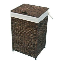 America Basket - Woven Maize Hamper in Rich Walnut Finish w Full Load Liner - Keep dirty laundry out of sight and in one place with this durable woven maize hamper, featuring a fabric liner and a notched lid for easy access. Highlighted by a metal frame, the hamper will be a welcome addition to your bedroom or bath and is sized to hold a full load of laundry. Versatile, handcrafted woven maize hamper. Built with a knock-down design for easy storage and transport. Decorative accessories will add warmth and style to your home decor. Ideal choice for a flexible and stylish laundry solution. Designed to hold a full load of laundry. Decorative maize hamper features a Rich Walnut color. Made of high-quality maize with a metal frame for strength and durability. 16 in. L x 14 in. W x 26 in. H (10 lbs.)