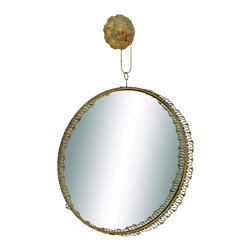Benzara - Solaris Round Wall Mirror an Antique Gold Bronze Decor - Rustic and elegant Solaris round wall mirror with an antique gold and bronze finish living and dining room decor