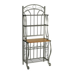 Old Dutch International - 68 in. Bakers Rack in Pewter - Showcase your favorite wines in elegant style with this baker's rack as part of your kitchen or dining decor. Made of steel in a pewter tone power coat, the rack includes multiple shelves and scrolled design elements as well as an arched top and a built-in wine rack for added function. Wood finished particle board counter to display plants and picture frames. Two upper display shelves. Large bottom shelf. Five bottle wine rack. Made from powder coated steel. Minimal assembly required. 27.5 in. W x 16 in. D x 68 in. H (29.6 lbs.)