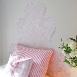 "gLaM-aPeeL Wall Decal Headboards ""Lace on Pink"" - gLaM-a-PeeL Lace on Pink Wall Decal Headboard...a headboard you stick on the wall!"