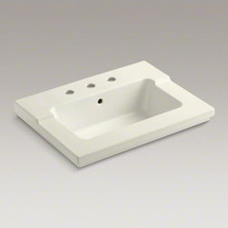 """KOHLER - KOHLER Tresham(R) vanity-top bathroom sink with 8"""" widespread faucet holes - Recalling the elegant simplicity of Shaker-style furniture, Tresham blends classic American design with a modern eclectic sensibility. This one-piece integrated bathroom sink is offered in an industry-standard size for easy configurability. It makes an id"""