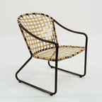 """California Furniture Restoration - Restored Patio Chair Aluminum Tube With Vinyl Lace - Lightweight fully welded tubular aluminum frame the frame is not new it has been restored. New frame finish, (powdercoated). Hand tied weave the vinyl is woven onto the frame in one continuous strip 5/8""""wide X 80' long. Great design originated California in the 1950's. Great functionality, Comfortable, Maintenance Free, Durable, Light Weight, Stylish."""