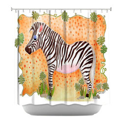 DiaNoche Designs - Shower Curtain Artistic - Zebra Orange - DiaNoche Designs works with artists from around the world to bring unique, artistic products to decorate all aspects of your home.  Our designer Shower Curtains will be the talk of every guest to visit your bathroom!  Our Shower Curtains have Sewn reinforced holes for curtain rings, Shower Curtain Rings Not Included.  Dye Sublimation printing adheres the ink to the material for long life and durability. Machine Wash upon arrival for maximum softness. Made in USA.  Shower Curtain Rings Not Included.