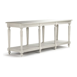 Kathy Kuo Home - Alsace French Country Light Gray White Wash Long Buffet Console - The impressive Alsace buffet console is crafted from solid oak but finished with delicately turned legs and a grey white wash to keep it from looking oppressive. With an open lower shelf running the length of this rustic country buffet, you have storage aplenty. Picture this beauty loaded up with all the fixings of your Thanksgiving feast, with extra china and bright linen napkins stored conveniently below.