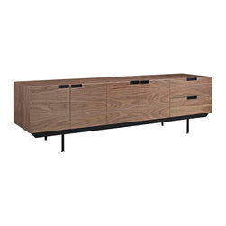 Herald Sideboard - Display your best with the Herald Designer Sideboard. The minimalist design carefully gathers together your silverware, dishes and other dining room finery, while the outside appearance presents a unified whole. Herald is waist level to allow for easy food storing and serving, and pleasantly constructed to reside admirably in either casual or formal spaces.