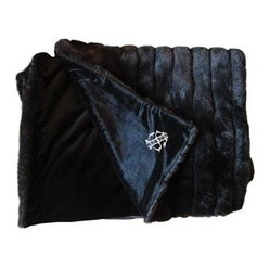 Monogrammed Faux Fur Throw Blanket