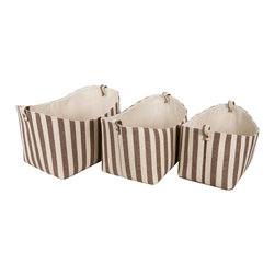 Enchante Accessories Inc - Cotton and Linen Striped Storage Bins with Finger Loops (Nested Set of 3)  Brown - Set of three cotton and linen striped storage bins