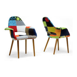 "Baxton Studio - Baxton Studio Forza Patchwork Mid-Century Style Accent Chair (Set of 2) - The style of decades past serves as inspiration for this versatile, classic accent chair. It features a supportive high back, arms, as well as light foam padding under the patchwork fabric. A wooden frame and legs (medium brown stain) serve as the basis for construction. This chair is made in China. Assembly required; spot clean only.   28.87""W x 25""D x 34.37""H, seat dimension: 18.12""W x 18.5""D x 19""H , arm height: 25.25""H"