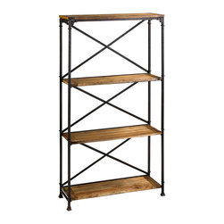 Kathy Kuo Home - Monacco Rustic Reclaimed Wood Iron Etagere Bookshelf - Like a Gibson girl or an upright piano, this slim rustic Étagère bookshelf evokes the good old days of ragtime bands and the dawn of a grand industrial age. A natural finish wood surface and oxidized iron base make it equally tough and beautiful. Paired with French, rustic, industrial or eclectic styled rooms, this beauty is old-fashioned yet eternally stylish.