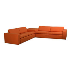 True Modern - Marfa Corner Sectional Sofa, Saffron - Designed for especially large spaces or even sunken living rooms, this sectional sofa not only looks handsome, but also delivers on exquisite comfort. Just make sure and kick those shoes off before resting them on here at the end of the day.