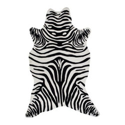 Z Gallerie - Zebra Rug - Black - Embrace depth and color with our graphically bold animal-friendly Zebra Area Rug. Hand sculpted and durable, our Zebra Rug can easily transition from indoor to outdoor usage.  Hand hooked from all-weather polypropylene our Zebra Rug brings dimension and detail to any landscape. Easily cleaned and available in two sizes and four colors:  Apple Green, Black, Grey or Chocolate Brown.