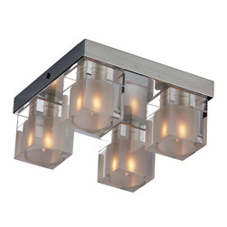 ET2 Lighting - Blocs 4-Light Flushmount - Shedding a little more light on the subject, this flushmount ceiling lamp with four cube lights can illuminate every corner of your room with poise and polish.