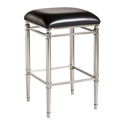Hillsdale - Hillsdale Riverside Non-Swivel Backless Counter Stool - 5173-824 - Contemporary constructed meets vintage design in the Riverside Stool. Constructed of dull nickel and marked by a sleek, black vinyl seat cover, the Riverside is an eye-catching and reminiscent of styles popular in recent decades past. The Riverside has a 360 degree swivel seat is available in bar and counter heights. Some assembly required. �