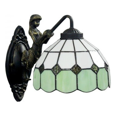 ParrotUncle - White Green Pattern Tiffany Glass Iron Base Wall Sconces - White Green Pattern Tiffany Glass Iron Base Wall Sconces