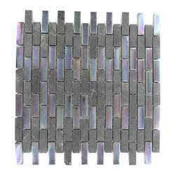 "Geological Brick Black Slate & Rainbow Black Glass Tiles - Geological Brick Black Slate + Rainbow Black Glass Tiles 1/2 x 2 This striking brick design has a combination of green quartz slate and white gold glass. These tiles are mesh mounted and will bring a sleek and contemporary clean design to any room. Chip Size: 1/2"" x 2"" Color: Black and Metallic Iridescent Rainbow Black Material: Slate and Glass Finish: Frosted and Polished Sold by the Sheet - each sheet measures 12""x12x (1 sq. ft.) Thickness: 8mm"