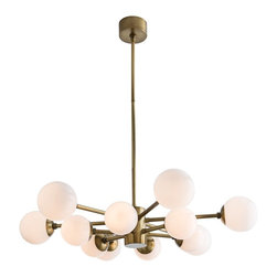 Arteriors - Karrington Chandelier, Antique Brass - The irregular symmetry of the design in combination with the antique brass and opal glass spheres (or brown nickel and smoked glass shperes) almost makes this feel like something mother nature conceived. With 12 lights, it provides plenty of wattage over a large table. Consider shortening the pipe so it appears to be hugging the ceiling for a totally original look. This is a great chandelier when the view from above is as important as the view from below. Takes twelve 25 watt bulbs.