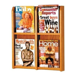 Wooden Mallet - Wall-Mount Oak Magazine Rack w Four Acrylic D - Finish: Light OakUse this magazine rack as wall-mount asset or free-standing asset for your store or office - it's up to you! Optional floor stand available for extra versatility. 4-pocket design has clear acrylic panels and solid oak construction. Mounting hardware included. Pre-drilled with hardware included for simple wall mounting. Furniture quality construction with solid oak uprights and clear acrylic pocket front panels. Pictured in Medium Oak. No assembly required. Optional floor stand not included. 2.875 in. D x 20.25 in. W x 23.875 in. H (12 lbs.). Floor Stand: 16 in. D x 2 in. W x 53 in. H (10 lbs.). 1-Year warrantyWooden Mallet's Oak & Acrylic Wall Displays will add warmth and class to your magazine and literature collection. Clear acrylic panels allow full view of literature while keeping it neat and organized. money