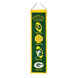 Winning Streak Pennants - Green Bay Packers NFL 8 x 32 Heritage Banner - Check out this Awesome wool Heritage banner. It features embroidery and appliqued graphics in official team colors. It's perfect for your Man Cave, Game Room, Office or anywhere else you want to show love for your team.