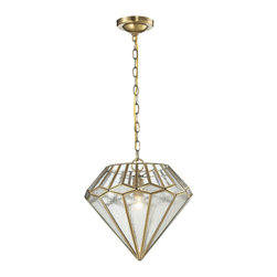 Elk Lighting - Elk Lighting Joline Collection 1 Light Pendant In Brushed Brass - 22010/1 - 1 Light Pendant In Brushed Brass - 22010/1 in the Joline collection by Elk Lighting This pendant is proudly shaped into a multifaceted diamond pattern with a combination of seedy and clear glass panels, clutched by a solid Brushed Brass frame.  Pendant (1)