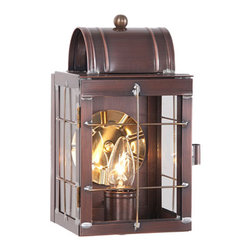 Irvin's Tinware - Small Outdoor Wall Lantern, Antique Copper - Glowing with warmth, our Small Wall Lantern when placed on each side of your front entry door provides a welcome for friends and family. This versatile lantern is also great for back doors, decks and patios.