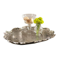 Zodax - Zodax Ornate Oval Aluminum Serving Tray - Zodax - Serving / Decorative Trays - IN5177 - Ornate Oval Aluminum Serving Tray