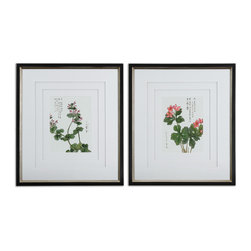 Uttermost - Asian Flowers Framed Art Set of 2 - Do you have a black thumb? This set of delicately rendered Asian flowers is the perfect antidote. Beautifully framed, the V-grooved mats give the prints a sense of floating in their frames.
