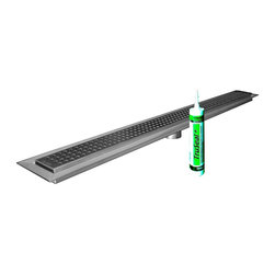 """Trugard - 42"""" Tru-Line Linear Shower Drain Body & Grate Included, Classic Style Grate - The TRU-LINE Linear Drain consists of a formed stainless steel channel body and a grate assembly that can be seamlessly adjusted to the thickness of the ceramic tile or stone covering from 1/4"""" to 1"""". The channel body features a standard 2"""" no-hub outlet and is attached to the pipe using an appropriate flexible or no-hub coupling. The simple connection to standard drain outlets makes TRU-LINE suitable for new construction and renovation."""