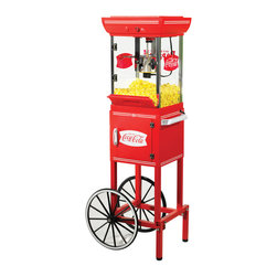 Nostalgia Electrics - Nostalgia Electrics Coca-Cola Series 48-inch Old Fashioned Movie Time Popcorn Ca - The Nostalgia Electrics Coca-Cola Series Old Fashioned Movie Time Popcorn Cart will be the hit of every party. Designed for home use, the popcorn cart provides a vintage look and feel reminiscent of silent movie houses and carnivals of the early 1900s.