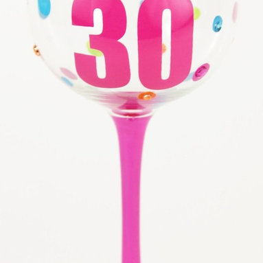 Hand Painted Milestone Flirty 30th Birthday Wine Glass, Holds 18 Oz - In A Gift - Hand Painted Milestone Glasses will make your birthday celebration special and chic !