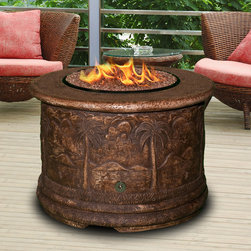 California Outdoor Concepts - Palm Fire Pit Chat Table - An outdoor end table with the capability to create warmth, light, and ambiance... what more could you ask.  Oh did I mention it has some really detailed decorations on the sides that feature palm trees and other tropical symbols.