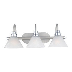 Quoizel Lighting - Quoizel AO8603MN Astoria 3 Light Bathroom Vanity Light, Millenia - Long Description: This sleek design has beautiful, etched alabaster glass shades in a modern cone shape. The highly arched arms add a graceful touch to the simple style