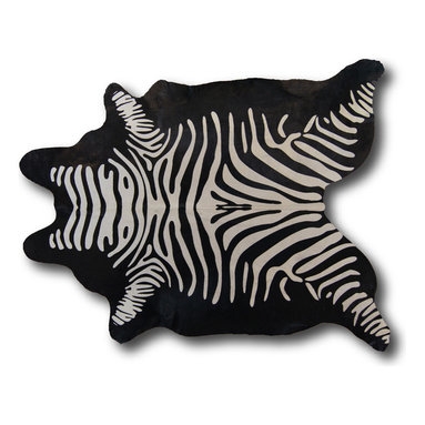 Kaymanta - Black Zebra | Natural Hide Rug | Animal Print Cowhide Leather Rug - Inverse Zebra | Natural Hide Rug | Natural Cowhide Leather Rug