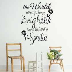 ColorfulHall Co., LTD - Wall Decals For Kids The World Always Looks Brighten From Behind A Smile - Wall Decals for kids The World Always Looks Brighten From Behind A Smile