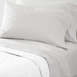 Garnet Hill - Garnet Hill Hemstitched Supima Percale Sheets - King - Flat - Sterling Gray - Heirloom-inspired in every way and woven of pure Supima cotton combed to remove all but the finest long-staple fibers, this 300 thread count cotton bedding possesses the soft yet crisp hand craved by enthusiasts of classic percale. The flat sheet, cases and bedskirt are embellished with timeless hemstitch details. The fitted sheet is fully elasticized for a better fit (deep-pocket Queen, King and California King sizes will fit mattresses up to 15 inches deep).