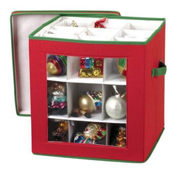 Household Essentials - Holiday Ornament Storage Box - Holds 27 Ornaments - Our Ornament Storage Box holds up to 27 ornaments and is made of canvas. This ornament keeper is built to preserve your ornaments season after season and make decorating and storing a cinch.