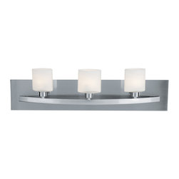 Joshua Marshal - Opal Three Light Up Lighting 24in. Wide Bathroom Fixture - Opal Three Light Up Lighting 24in. Wide Bathroom Fixture
