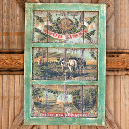 """Good Times Tobacco Framed Artwork - Aged painted wood plank farming scene in a distressed painted """"window"""" frame. Very detailed product specific ad label. Two feet by three feet."""