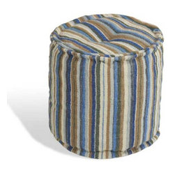 Interlude Home - Interlude Home Vendela Ottoman - This Interlude Home Ottoman is crafted from Wool and finished in Blue Multi.  Overall size is:  18 in. W x  18 in. D x 18 in. H.